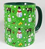 The Christmas Snowman and Reindeer Mug with green glazed inner and handle from Half a Donkey