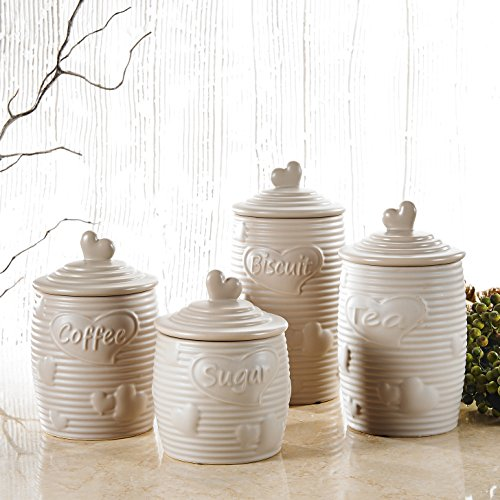 4er Set Porzellan Aufbewahrungsdose mit Deckel, Purelifestyle, Küchendose, Zuckerdose, Teedose,...