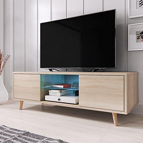 TV Meuble Rivano avec LED bleu (chêne)