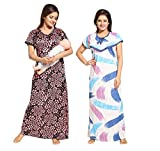 #7: Tucute Women Beautiful Heart print Satin with invisible Zip + Strips Print Feeding / maternity / Nursing Nighty / Night Gown / Night Dress / Nightwear (Free Size) (Pack of 2 Pcs) Style no. 1494
