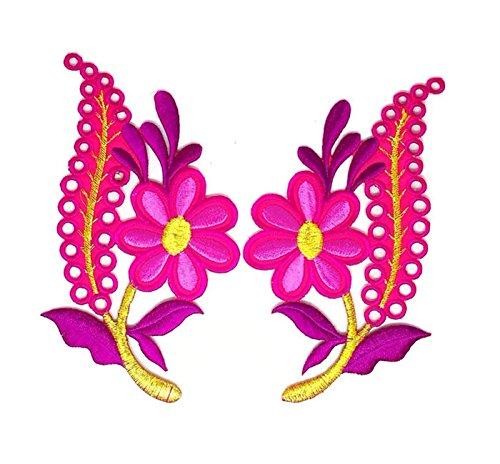 Blumen rosa-gold Trim Floral Patch Sew Eisen auf gesticktes Logo Symbol mit Floral Gold Trim