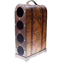 CHRISTIAN GAR Botellero de Madera Decorado con Capacidad para 4 Botellas (43,5 x