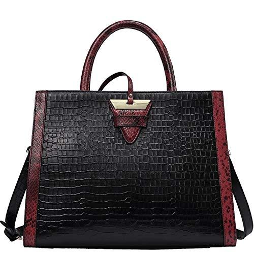 QI WANG Echtes Leder Handtaschen für Frauen Top-Griff Handtaschen Schulter Handtaschen Geprägte-Krokodil-Umhängetaschen - Krokodil Geprägtes Leder Handtasche
