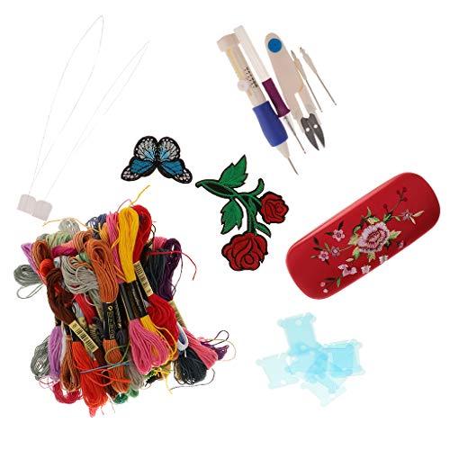 F Fityle Kreuzstich Stickerei Starter Kit Punch Nadeln Set DIY Tools Thread Stoff für Anfänger - Punch-stickerei-starter-kit