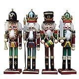 4 pezzi per set 30cm Soldatino Schiaccianoci in Legno Puppet Giocattolo Regali Decorazione Ornamento decorativo in legno Decorazione per la casa Natale Ornamenti Set