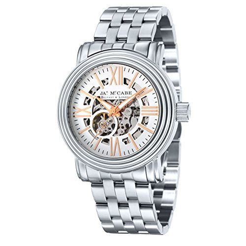 James McCabe Stainless Steel Case & White Dial with Stainless Steel Metal Bracelet Automatic Skeleton Movement Men's Analogue Watch JM-1008-11