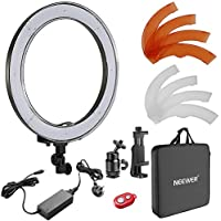 Neewer 18-inch Outer Dimmable SMD LED Ring Light Lighting Kit with Color Filters, Rotatable Phone Holder, Hot Shoe Adapter and Carry Bag for Selfie Portrait YouTube Video Shooting(Stand Not Included)