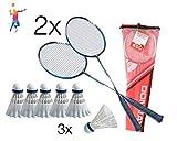TK Gruppe Timo Klingler Set da badminton Volano Set per badminton composto da 2X schlaeeger Racchette volano da badminton 8X palle da badminton Volani palle Rackets Bianco