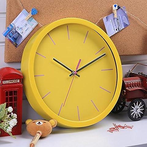 Plastique de ménage LCD mural rond Simple horloge chronographe mécanique , yellow