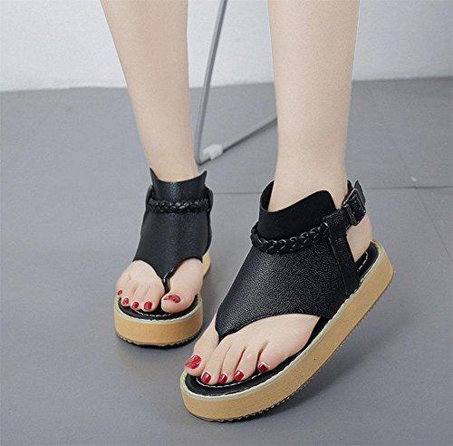word donne Thong-style fibbia scarpe basse scarpe bianche con scarpe basse di svago selvaggio Black