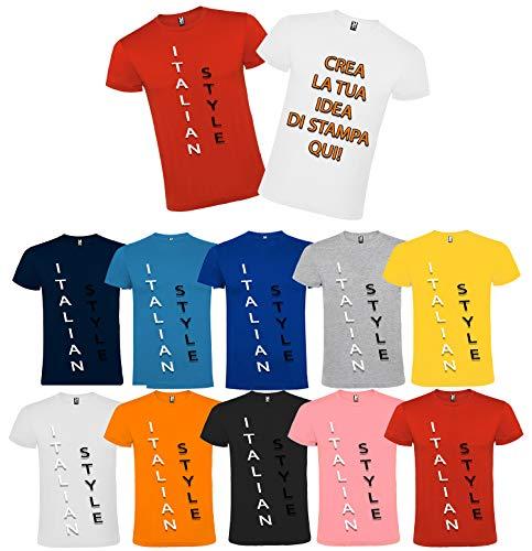 T-shirt stampa personalizzata testo logo scritta davanti e dietro personalizzabile mezza manica girocollo bianco (s)