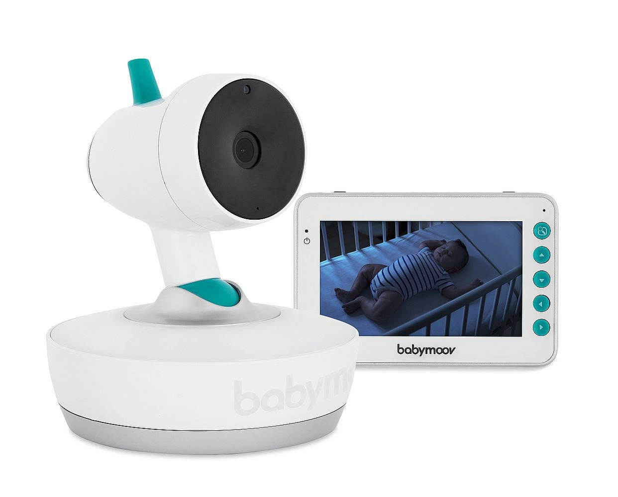 Babymoov YOO Moov Motorised Video Baby Monitor BABYMOOV Includes 2 usb cables (plugs not supplied): adapters are replaced by longer usb cables (2.5 m). they are compatible with all 5v usb plugs, reusable on several devices 360° view: the YOO Moov camera tilts from front to back and right to left. easy to control via the screen (parent unit) Innovative: the motor hidden inside the foot of the camera is very efficient and silent. The camera quietly changes direction. its movements are smooth, not jerky 1