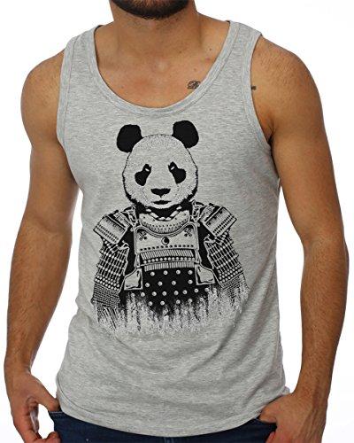 OM3 - PANDA SAMURAI - Tank Top Tokio China Asian Bear Bär Love Fun Parody Swag NYC, XXL, Grau Meliert - Asian Bar
