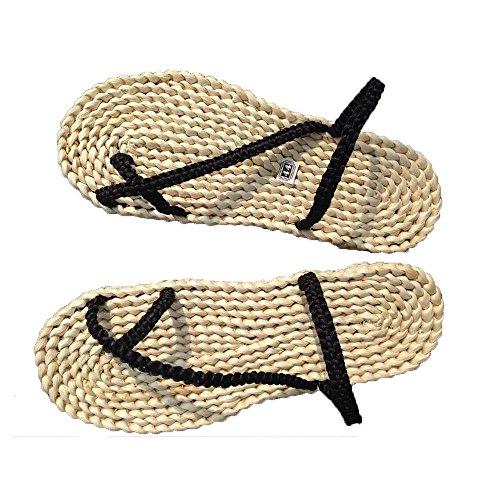 Mode Herren WANGXN Stroh Schuhe Sandalen Casual Schuhe Sandalen Breathable Umwelt Anti - Skid Sandalen Große Yards , black , 37-38 (Espadrilles Crew)