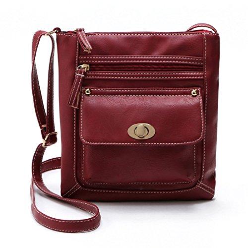 Schultertaschen Damen Btruely Retro Handtaschen Mädchen Schulter Messenger Taschen Damen Leder Umhängetasche (Rot) - Rote Schulter-tasche Handtasche