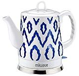 MyWave Oxford Kettle - Hervidor de Agua de Cerámica, 1200 W, 1.5 Litros, Blanco y Motivos en Azul