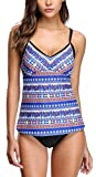 Attraco Damen Tankini Mit Pads Blau Two Piece Tribal Tankini Set Azteken Blau 2XL