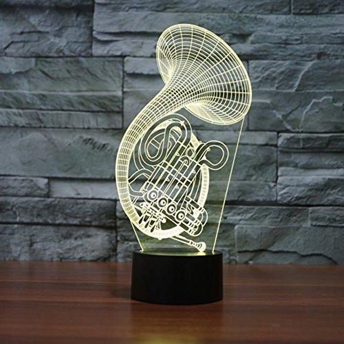 Lampe 3d Illusion Lichter der Nacht, kingcoo verstellbar 7Farben LED Acryl 3d Creative Stereo Touch Switch Visual Atmosphäre Licht Tisch, Geschenk für Geburtstag Weihnachten Modern Saxófono - 5