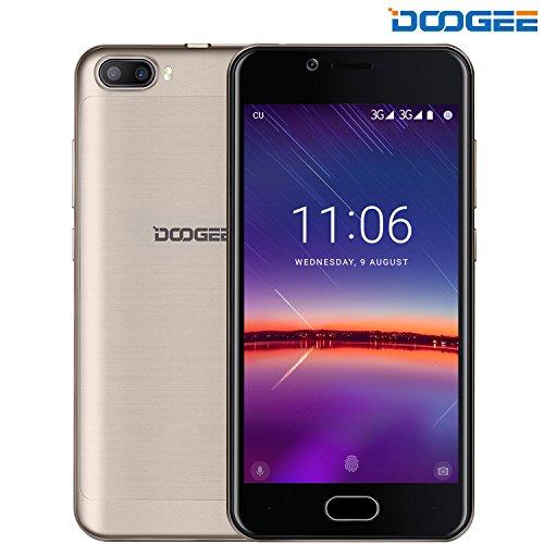Smartphone Ohne Vertrag, DOOGEE SHOOT 2 Dual SIM Handys, Android 7.0 Telefon mit 5,0 Zoll IPS Bildschirm - 3360mAh Hroß Kapazität Smartphones - 5MP Kamera mit Blitz -MT6580A Prozessor, 2GB RAM + 16GB ROM Vorderer Fingerabdruck Entsperren Mobiltelefone- Gold Entsperren Bei&t-handys