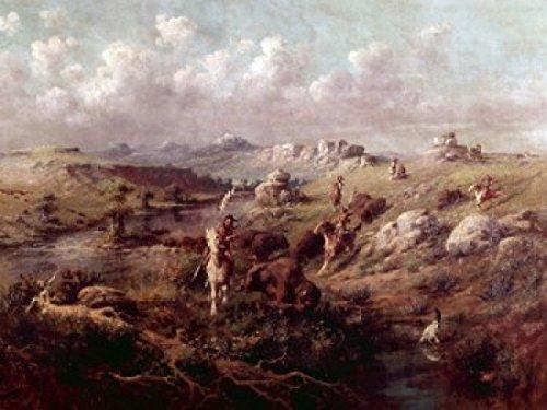 Edgar Samuel Paxson - The Buffalo Hunt Edgar Samuel Paxson (1852-1919 American) Poster Drucken (60,96 x 91,44 cm) -