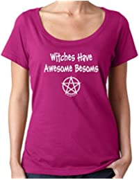 Cheeky Witch® Witches Have Awesome Besoms Halloween Scoop Neck Top Pagan Wiccan T-Shirt