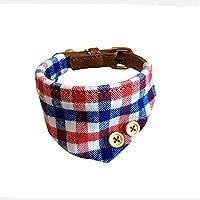 Yonfan Hundehalsband mit Tuch Verstellbar Hund Halstuch Halsband für Kleine Hund, Welpen, Katze, Haustier, Rot und Blau Plaid