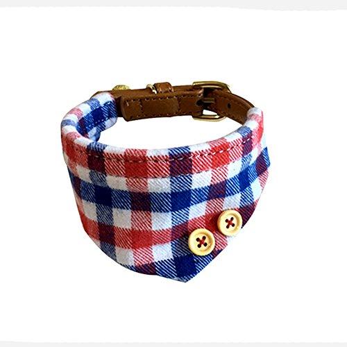 Yonfan Hundehalsband mit Tuch Verstellbar Hund Halstuch Halsband für Kleine Hund, Welpen, Katze, Haustier, Rot und Blau Plaid -