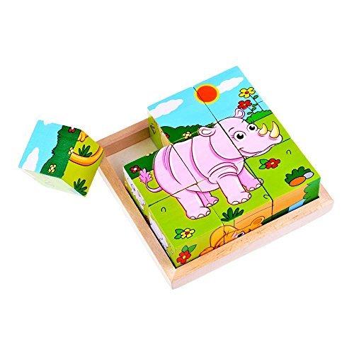 Education Préscolaire en Bois Cube Bloc Puzzle - Lion Zebra...