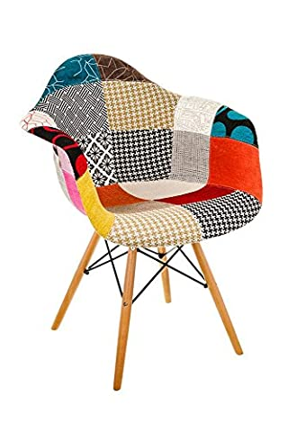 Costello® PATCHWORK PREMIUM FABRIC RETRO WOODEN ROCKING ROCKER LOUNGE LEISURE CHAIR LIVING BED ROOM INDOOR/OUTDOOR SUN PATIO GARDEN SEAT CONSERVATORY OFFICE TULIP CHARLES AND RAY EAMES STYLE MODERN RAR TUB DINING (PATCHWORK CHAIR)