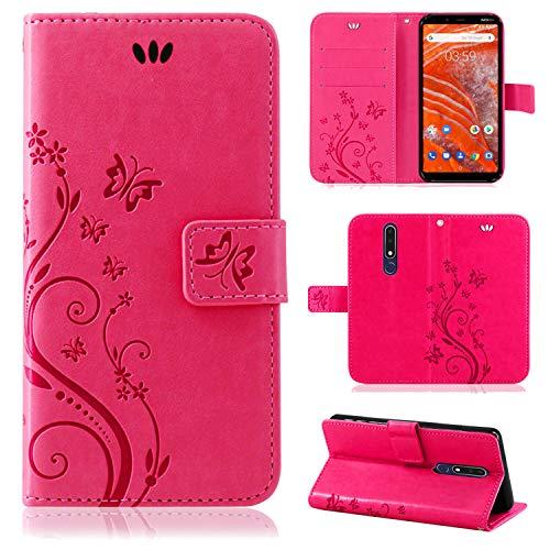 betterfon   Nokia 3.1 Plus Flower Case Handytasche Schutzhülle Blumen Klapptasche Handyhülle Handy Schale für Nokia 3.1 Plus Pink