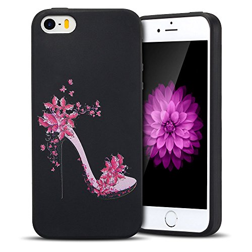Coque iPhone 5S , Etui iPhone SE TPU Case Silicone Transparente Slim Souple Étui de Protection Flexible Soft Cover avec Motif Spécial Anti Choc Ultra Mince Integrale Couverture Bumper Caoutchouc Gel A Talons Hauts