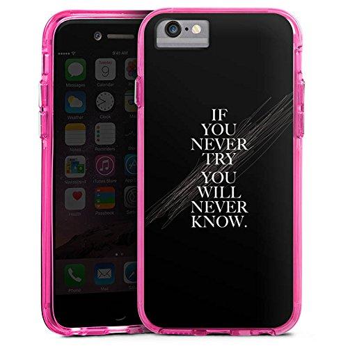 Apple iPhone 6s Bumper Hülle Bumper Case Glitzer Hülle Sayings Phrases Sprüche Bumper Case transparent pink