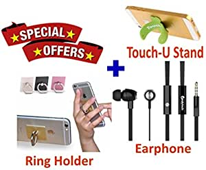 GKP Products ® Combo of High performance dynamic speaker Earphone,Touch-U & Mobile Ring.