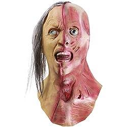 Horror Half Face Man Mask, novedad de Halloween Scary Men left Half of Face Mask, Costume Party Latex Zombie Mask