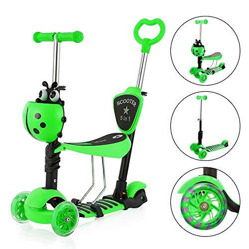 Yoleo 3-in-1 Kinder Roller Scooter mit Abnehmbarem Sitz, LED große Räder, Höheverstellbare Lenker für Kleinkinder Jungen Mädchen ab 2 Jahre (5-in-1 Grün)