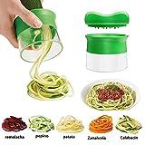 Cortador de Verduras, Ashleyoo Máquina de Cortar Espiral para rallador - [manual] [hojas muy afiladas] [mango protector] [cocina profesional] - Rallador de Verduras y Frutas - Color verde