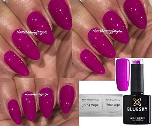 BLUESKY Neon 16violett grape Gothic Dark Pink Nagellack-Gel UV-LED Soak Off 10ml plus 2LuvliNail Shine Tücher