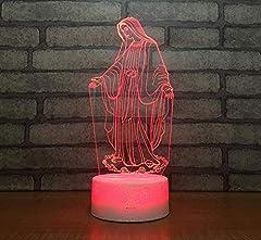 Idea Regalo - Base per crepe 3D luce notturna a LED benedetta lampada da tavolo cambia colore Vergine Maria luci decorazione festa regalo di Natale 16 colori