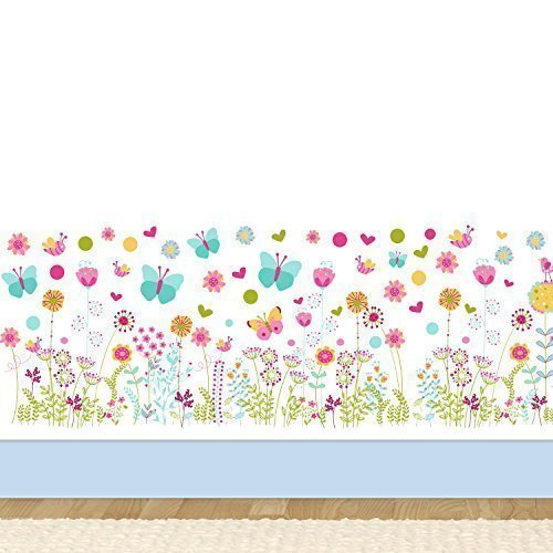 Walplus pared pegatinas mariposas y flores extra ble for Pegatinas murales pared
