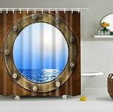 Aawang 3D Duschvorhang Polyester Duschvorhang des Alten Sternblauen 3D, Haken, Fenster, Teilvorhang, Toilettenspecial