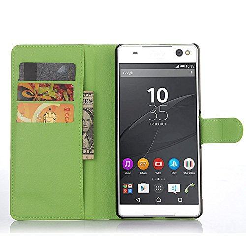 Tasche für Sony Xperia C5 Ultra (6 zoll) Hülle, Ycloud PU Ledertasche Flip Cover Wallet Case Handyhülle mit Stand Function Credit Card Slots Bookstyle Purse Design grün