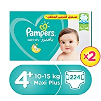 Pampers Baby-Dry Diapers, Size 4+, Maxi+, 9-16 kg, Double Giant Box, 224 Count