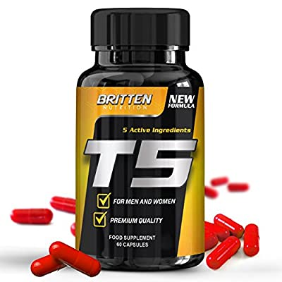 T5 Fat Burner - For Men And Women - Free Diet Plan With Every Order! - 60 Capsules - 1 Month Supply - 100% Money Back Guarantee from Britten Nutrition