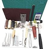 CHSEEA 61 Stück Lederbearbeitungs-Set Leder Fertigkeit Handwerk Werkzeug Set Leder Nähwerkzeuge Näh Set Schneiden Nähen Schnitzen Stanzen Lochen Leather Craft Tools Set #2