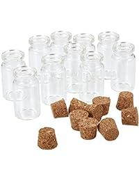 50 Pcs 2 ml Transparente Mini Botellas de cristal (con tapón de corcho vacía muestra