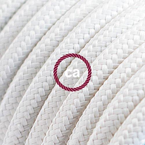 Cavo Elettrico rotondo rivestito in tessuto effetto Seta Tinta Unita Bianco RM01 - 5 Metri, 2x0.75