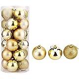 Lot de 24 boules de Noël 4cm de boules déco noël guirlande boules cimier Noël incassable Boules Décoration ,ce lot complet de décoration vous permet d'avoir tous les accessoires de déco pour votre sapin.- Thème couleur (or)