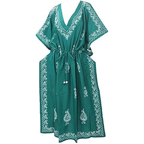 La Leela todo 1 damas rayón fiesta cóctel bordado túnica cubrir la parte superior vestidos de época traje de baño cordón camisones profunda kimono cuello maxi larga noche caftán vestido de mujeres