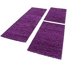 Bettumrandung Hochflor Shaggy Läufer Langflor Teppich 3 Tlg. Läuferset 1500, Maße:2x 60x110 cm / 1x 100x200 cm, Farbe:Lila (Lila)