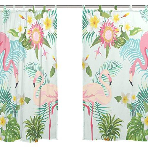 jstel 2pcs Voile cortina de ventana, diseño tropical flamencos, tul pura cortina Drape cama 55x 78(dos paneles Set